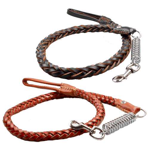 Leather leash with shock absorber for large dogs