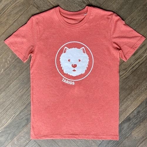 Salmon organic t-shirt with Westie motif