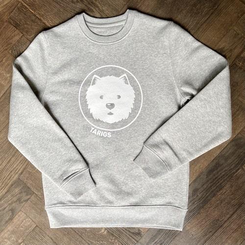Hellgraues Bio Sweatshirt mit Westie Motiv