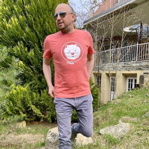 Men wearing salmon unisex t shirt with westie motif