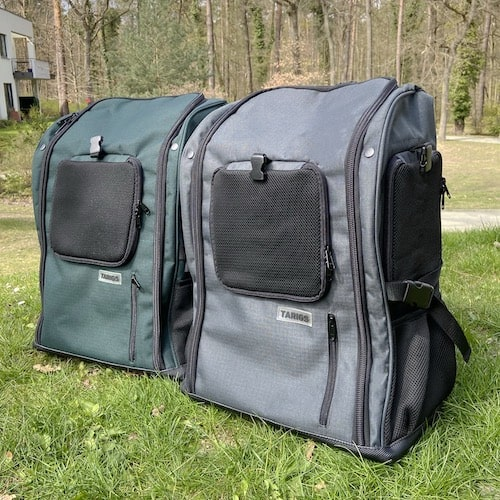 Trekking backpack for dogs colors gray and green